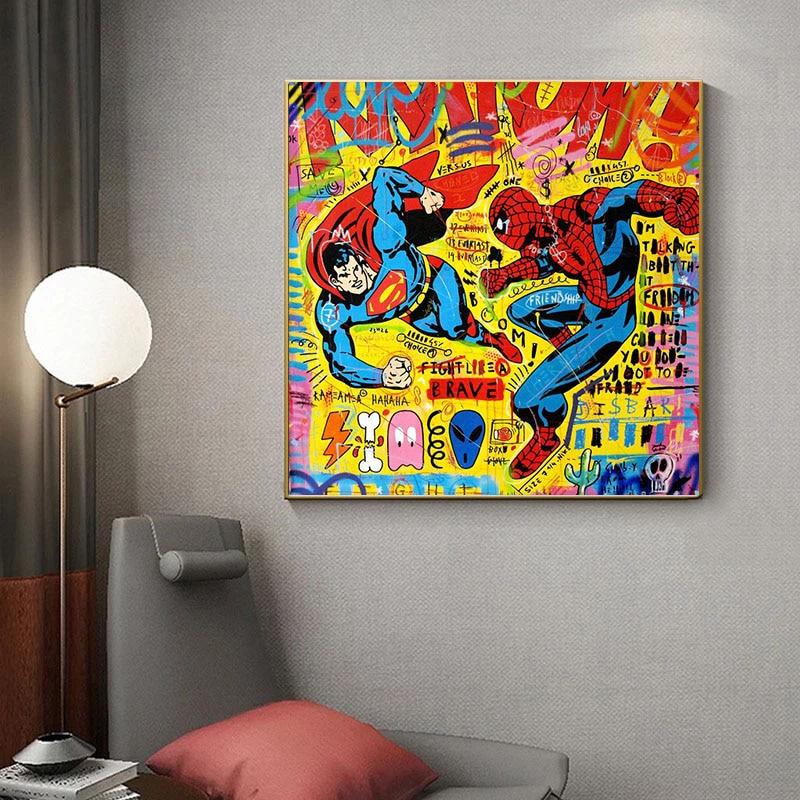 disney-anime-pintura-de-marvel-superheroe-lucha-contra-graffiti-arte-pop-arte-carteles-y-arte-de-pared-de-impresion-foto-decoracion-para-sala-de-estar