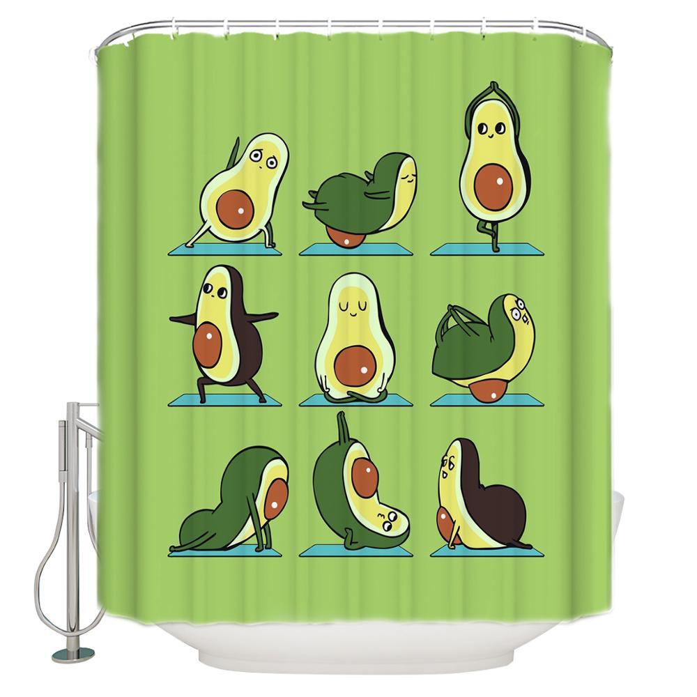 Bonita cortina de ducha con estampado de aguacate Yoga, cortinas de baño impermeables, cortina de baño de poliéster con 12 ganchos