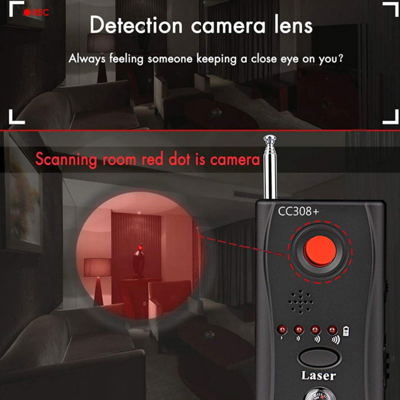 Multi-Function CC308+ Radio Wave Signal Detect Wireless Camera Lens Signal Detector Camera Full-range WiFi RF GSM Device Finder enlarge