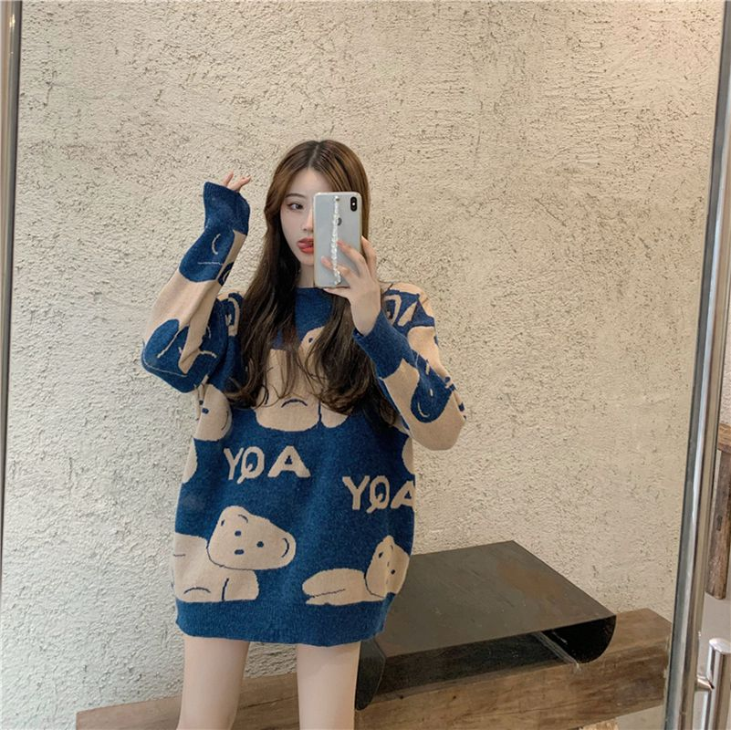 Autumn Winter Sweater Women Bear Pattern Round Collar Knitted Sweater Pullover Kawaii Loose Casual Streetwear Knitted Tops y2k brief round collar color block knitted women pullover