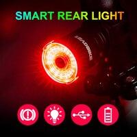 NEWBOLER Smart LED Bicycle Tail Light Usb Chargeable Bike Rear Lights Auto Start/Stop Brake Sensing Safety Warning Cycling Light