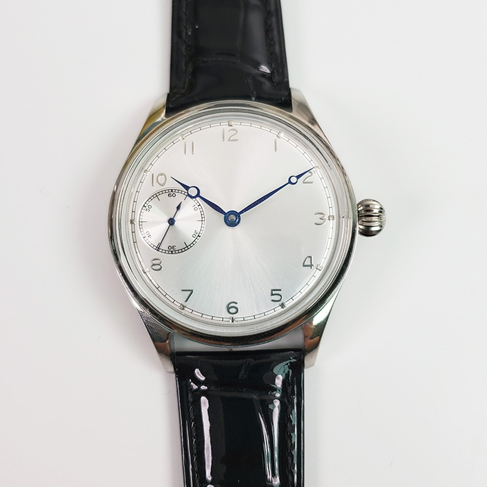 Reloj de 42,5 MM, esfera blanca, cadena superior Manual, reloj de hombre 6497, correa de cuero, caja de acero inoxidable, reloj mecánico para hombre