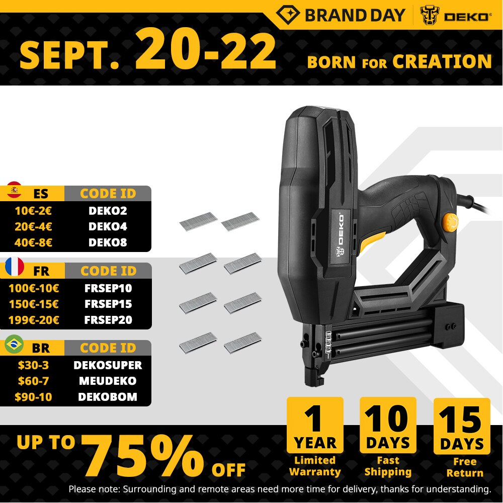 DEKO DKET02  Electric Tacker and Stapler Furniture Staple Gun for Frame with Staples & Woodworking Tool,Nail gun
