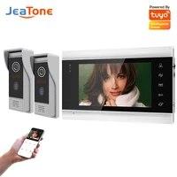 jeatone wifi video intercom for villa apartment accessory control tuya doorbell smart doorphone 2doors intercom set 720p