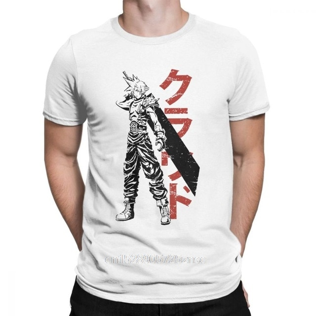 Printed Mercenary Final Fantasy T-Shirts Men Cloud VII FF7 Video Game Strife Shinra Soldier 100% Cotton Tee Short Sleeve T Shirt