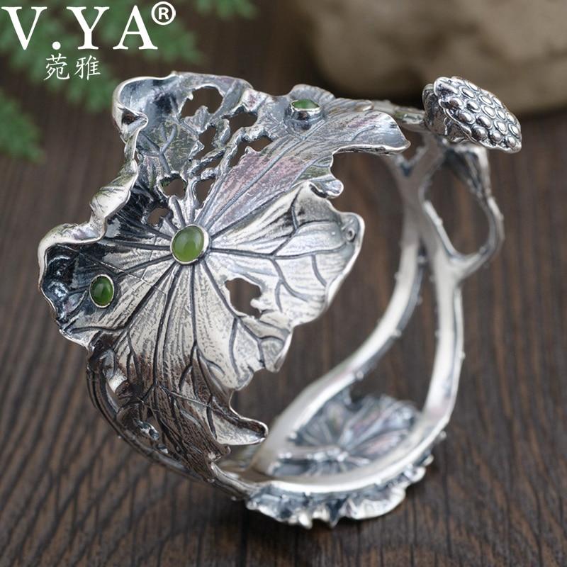 V.YA 925 Sterling Silver Cuff Bracelet for Women Thai Silver Vintage Lotus Leaf Open Silver Bangles Silver Women Jewelry