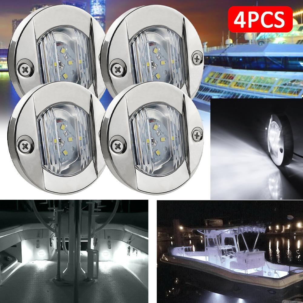 1/4PC DC 12V impermeable RV barco marino travesaño 6LED Stern Light redondo Acero inoxidable blanco frío luz trasera LED accesorios de yate