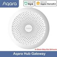 Aqara     Hub Gateway Original avec veilleuse Led RGB  telecommande avec application Zigbee  pour maison intelligente  fonctionne avec lapplication Mijia et Apple HomeKit