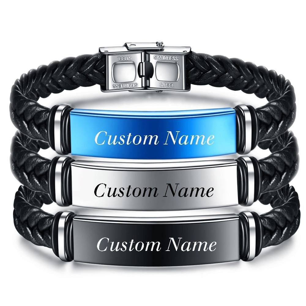 Pulsera de acero inoxidable, brazalete de cuero tejido con trenza negra con nombre grabado Vintage, brazalete de letra DIY para hombres, joyería