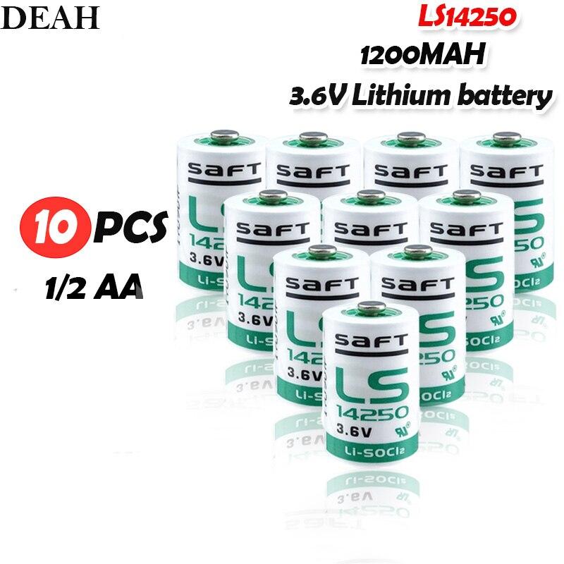 10 Uds 3,6 V SAFT 14250 LS14250 1/2 AA 1/2AA Batería primaria LS14250 para medidor de equipos electrónicos PLC batería de litio