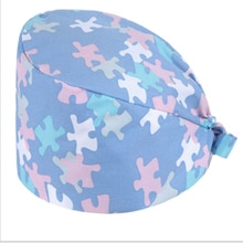 Health Workers Frosted Hat Laboratory Operator Work Cap Beauty Salon Print Hat Adjustable Scrub Cap