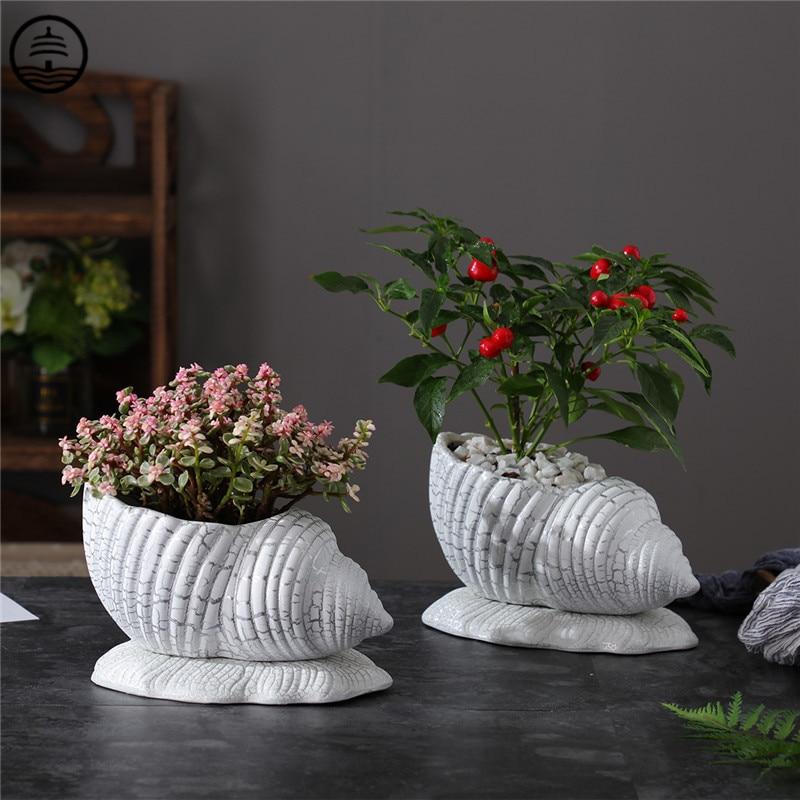 Vaso de Flores Decoração para Casa Guang Europeu Criativo Conch Modelagem Vaso Arte Flushiness Animal Artesanato Cerâmica Bonsai R6541 Bao ta