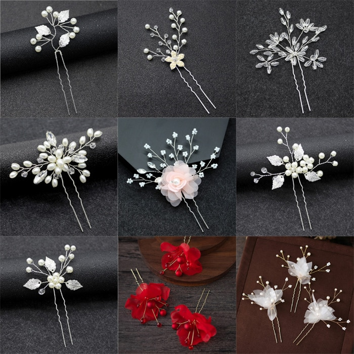 Wedding Hair Pins Decorative Bride Party Pearl Yarn pink red Flowers Handmade Hairpins For Women Hai