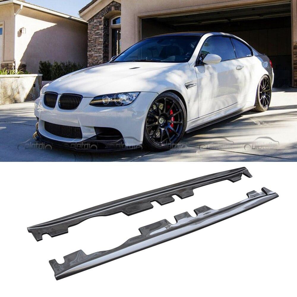 Real Carbon Fiber Körper Trim Seite Rock Stoßstange Schürze Verlängerung Lip Für BMW 3 Serie E92 E93 M3 2008-2013 OLOTDI Auto Styling