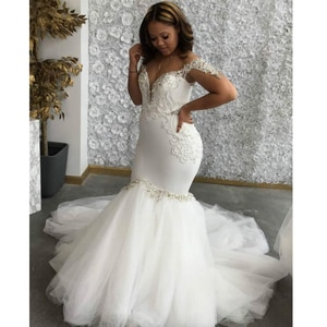 White Mermaid Wedding Dresses 2021 Beaded Sequined Tulle Skirt Off the Shoulder Africa Bridal Gown With Bridal Veil Custom Made