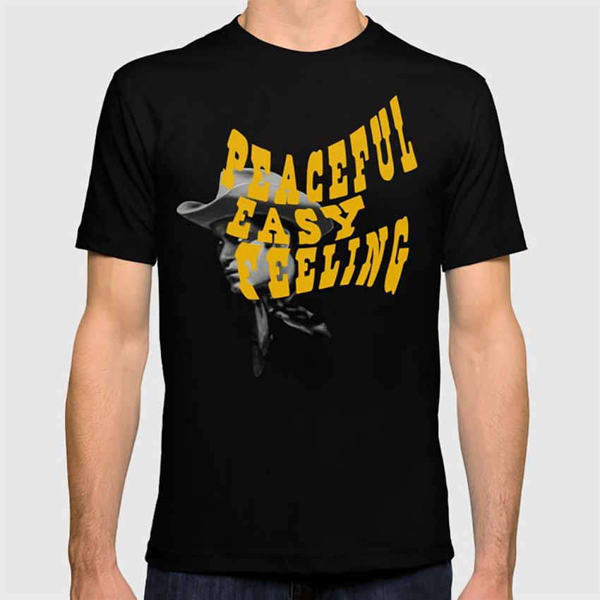 Camiseta Peaceful Easy Feeling, estilo occidental Vintage, con letras de canciones, Retro, Cowboy 1960s, dorado, nostálgico, positivo y Pacífico