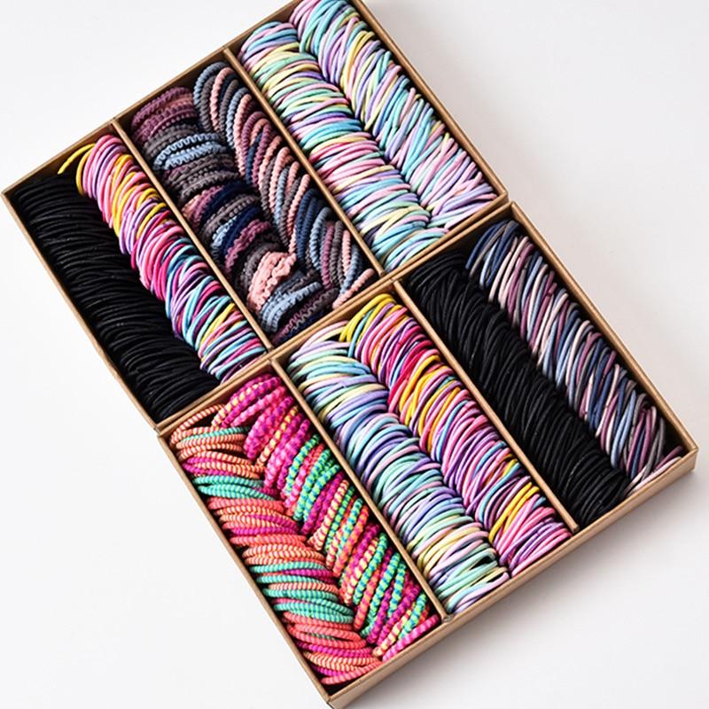 100PCS/Set New Girls Candy Colors Nylon Basic Elastic Hair Bands Kids Rubber Bands Headband Scrunchie Fashion Hair Accessories