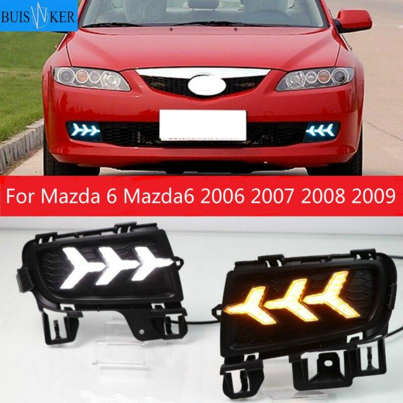 2pcs LED DRL Daytime Running Light Daylight With Yellow Turn Signal and Blue night light For Mazda 6 Mazda6 2006 2007 2008 2009