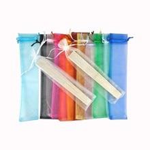 Éventail de mariage en organza, sacs en souvenir en 14 couleurs, 50 pièces par lot