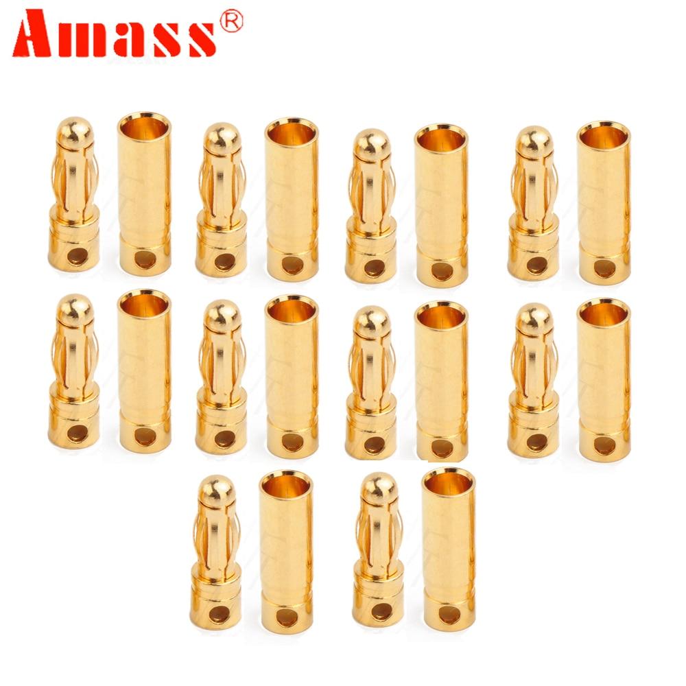 1 par amasar AM-1003B, conector banana de 4,0mm y conector dorado de 24k, conector banana para batería RC