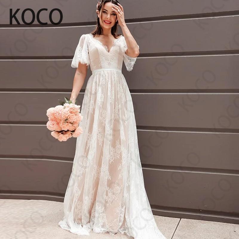 MACDUGAL-Vestido De Novia De encaje Floral, elegante, con cuello en V, manga...