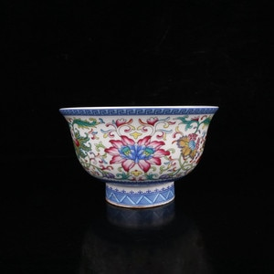 Chinese Old Porcelain Qing Qianlong Enamel Color Ganoderma Lucidum Grain Pomegranate Bowl