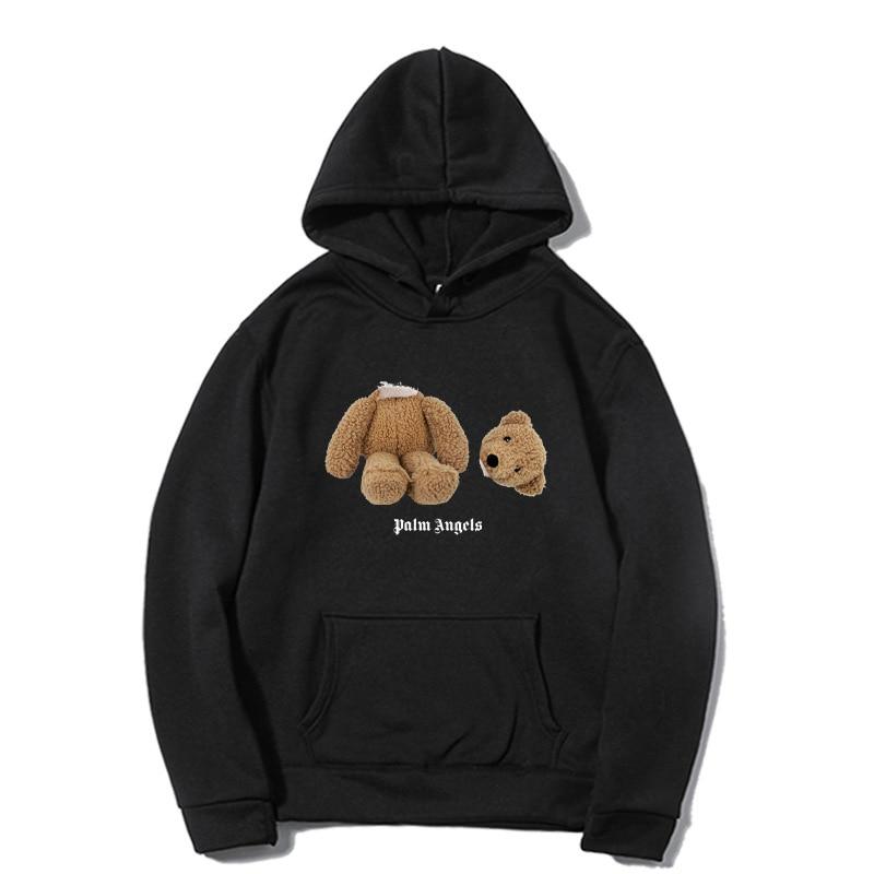 Новинка Осень-зима 2021, стильные мужские повседневные толстовки с принтом медведя из аниме 100% хлопка, модные трендовые толстовки