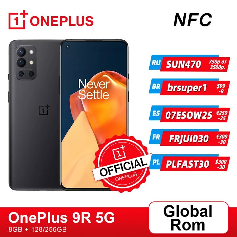 Global Rom OnePlus 9R 9 R 5G Smartphone 8GB 128GB Snapdragon 870 120Hz AMOLED Display 65W Warp 48MP