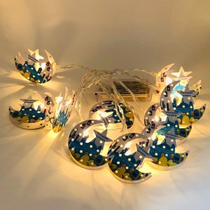 LED Light String Eid Mubarak Curtain Lights Decorative Lantern Islamic Culture Eid Al Fitr Muslim Middle East Ramadan Decoration