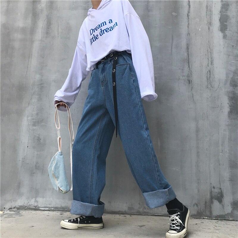 High Waist Jeans Pants Women 2020 Boyfriend Jeans For Women Harajuku Denim Harem Pants Ladies Wide Leg Blue Jeans Pants