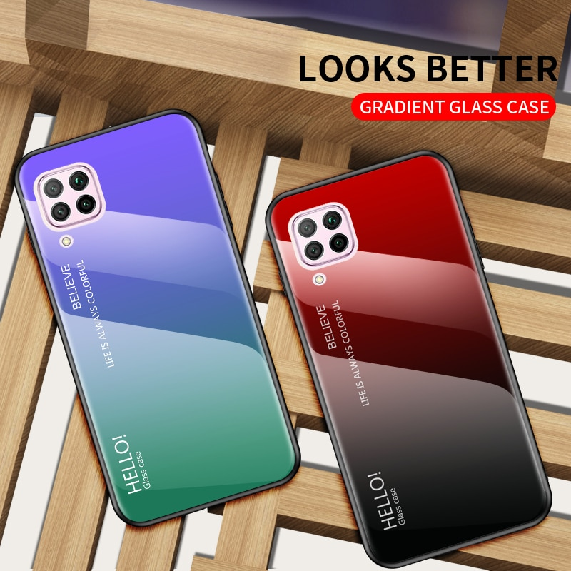 Funda de teléfono para Huawei P40 Lite, funda P40 Pro con gradiente de vidrio templado, funda de silicona suave de TPU para Huawei P40 Pro Plus Nova 7i