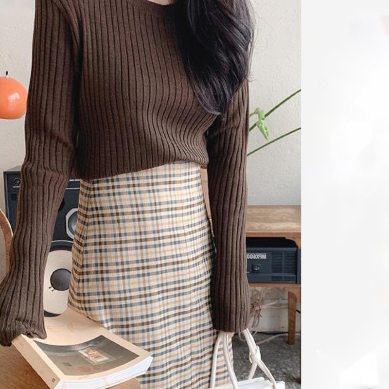 Skirt  Women Suit Autumn New Chic Korean Wear With Knitwear High Waist Split Check Skirt Two-piece Suit