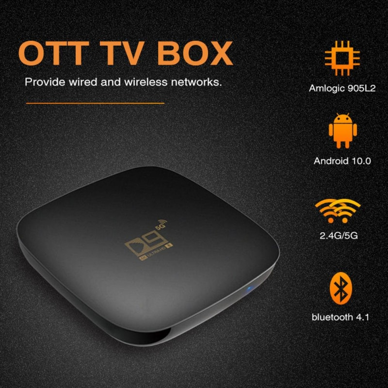Bluetooth-compatible Smart TV Box Sets Android 10 4K HDR 2.4G&5.8G Wifi TV Receiver Media Player 8G