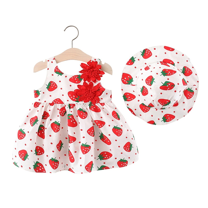 fashion 3pcs baby girl clothes cotton o neck sleeveless romper shorts clothing set for 6 24m new bron baby girl summer set Summer Dress Hat Set Strawberry Flower Baby Girl Clothes Cute Sleeveless Princess Dress for Girls Children's Clothing 9-24M