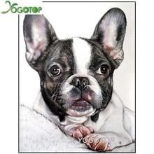 5D Full drill , diamond painting pet dog DIY diamond embroidery Bulldog Cross Stitch Rhinestone Mosaic Decoration Gift YY1757