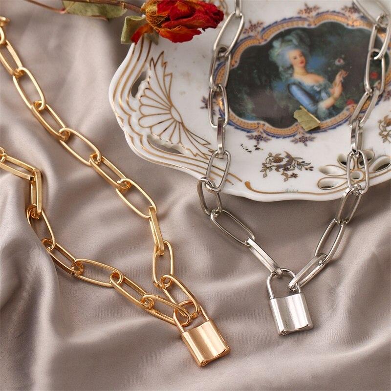 Vienkim simples bloqueio pingentes colares para as mulheres moda ouro prata cor coreano colar festa jóias 2019 atacado casamento