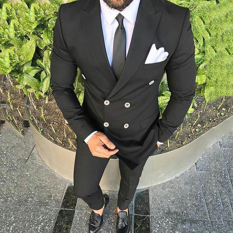 Черная приталенная одежда для жениха, свадебное платье, смокинги, двубортный костюм жениха, официальный костюм, мужской костюм из 2 предмето...