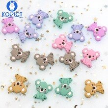 kovict 5pcs Koala Silicone Beads Rodents Baby Teether Food Grade Silicone Pearls Pacifier Pendant Ba
