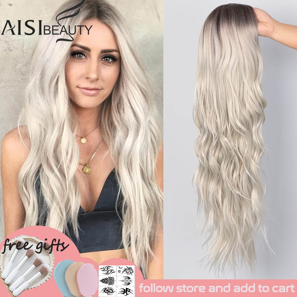 AISI BEAUTY Long Wavy Womens Wig Natural Part Side Hair Ombre Synthetic Wigs Platinum/Blonde/Black W