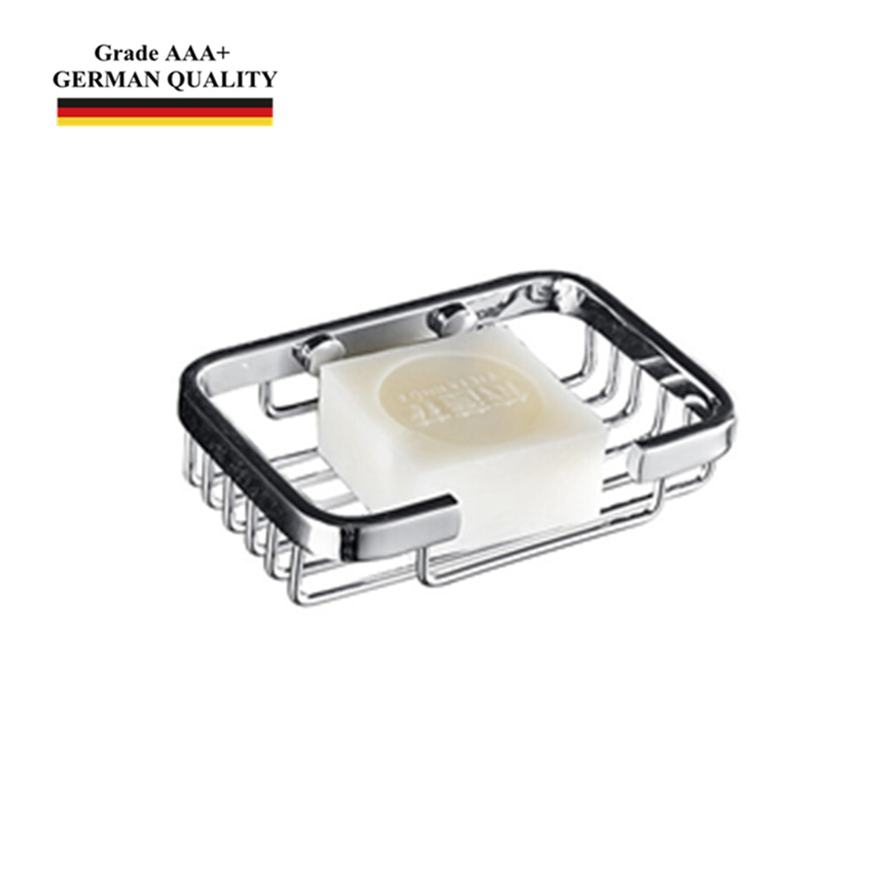 Plato de soporte para jabón SUS304 de acero inoxidable montado en la pared, cesta de cromo pulido para accesorios de baño