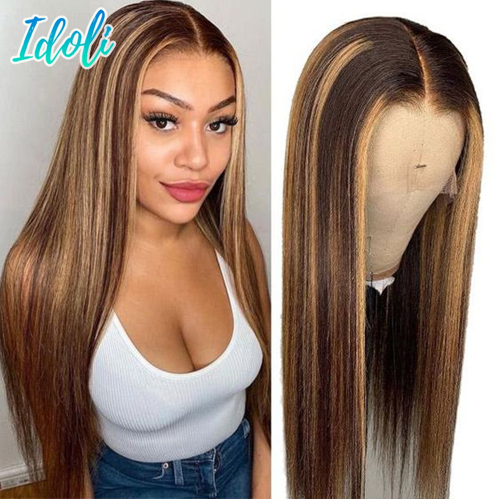 Bone Straight Hair P4/27 Highlight Wig Human Hair Honey Blonde Brown Brazilian T Part Wig Ombre Straight Lace Front Wig 13x4x1