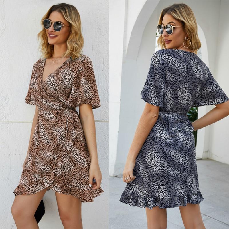 Summer Fashion Leopard Print French Women's Short Sleeve Dress High Waist V-neck Party Beach Holiday Sexy Mini Skirt Sun skirt