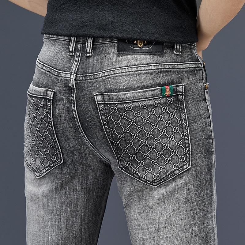 Fashion Autumn Men's Jeans Cotton Slim Elastic Bee Business Pants Trousers Classic Style Jeans Denim Male Pants Gray Color