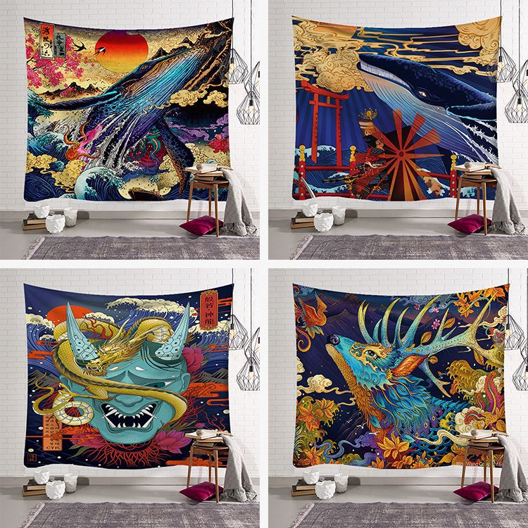 Японские гобелены, настенные пляжные гобелены, ткань из полиэстера для скатертей, одеяло, Декор, Большой Настенный Гобелен 200x150 см