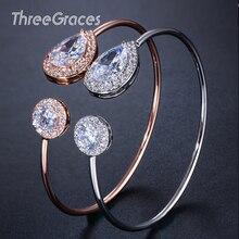 Trois grâces à la mode incrusté cubique Zircon ouvert Bracelet couleur or Rose bracelets de manchette pour les femmes bijoux accessoires BA022