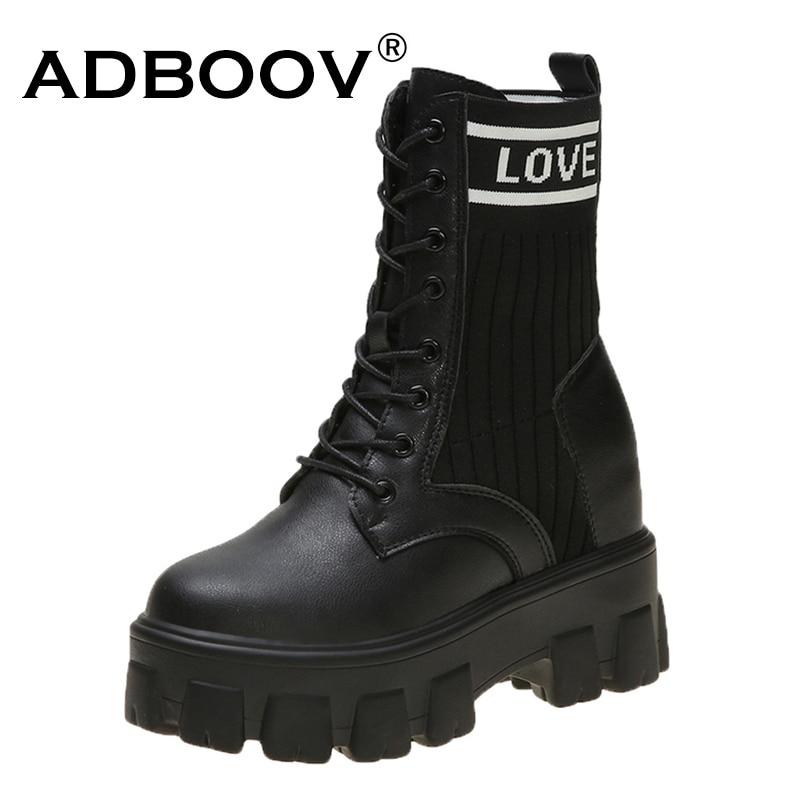 ADBOOV gruesas Sole Martens botas de mujer botas de plataforma de cuero botas de Invierno para mujer botas Hiver 2019 Mujer