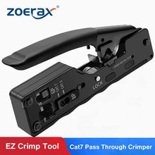 ZoeRax-crimpadora de paso Cat5 Cat6 Cat7 para conectores de red RJ45 RJ12 RJ11, enchufes modulares, Cables Ethernet, herramienta de crimpado EZ