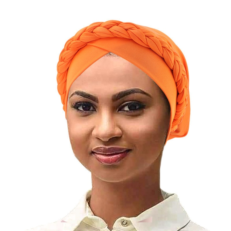 Фото - 2020 Fashion Muslim Braid Turban Bonnet For Women Forehead Cross Headscarf Indian Hat Ladies Chemo Cap Islamic Hijab Muslim Caps new cotton twist women turban caps muslim printed hijab bonnet islamic african wrap indian hat ladies chemo cap bandanas