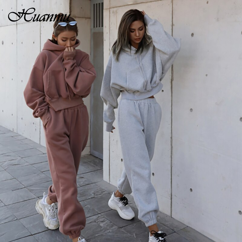 Women's Sets Casual Sweater Coat Sports Two- Piece Suit Hooded Collar Sweater + Harem Pants Loose Style Warm Sportswear Outfit