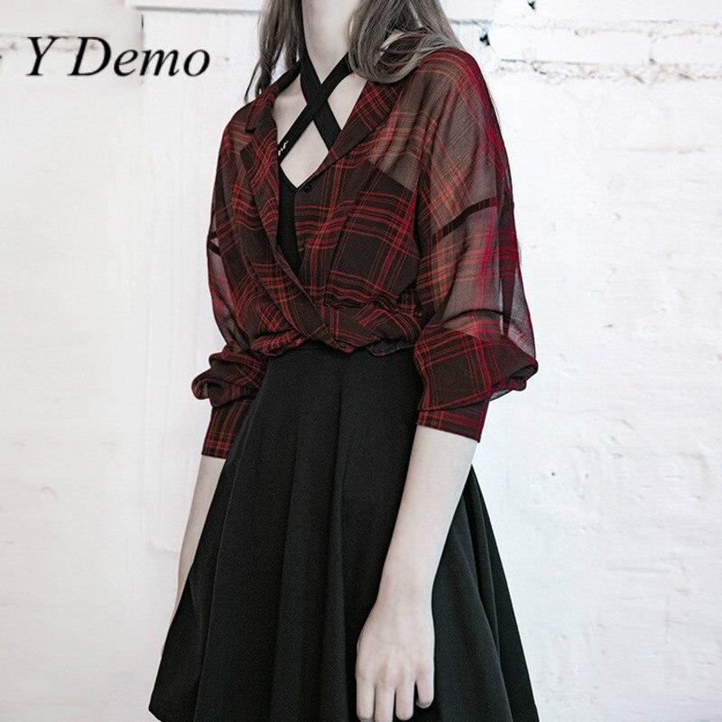 Y Demo Punk Casual blusa a rayas mujeres cuello pico de manga larga Rock femenino encaje arriba camiseta moda ropa 2020